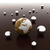 Earth ball on light path to infinity. 3d render — Stock Photo