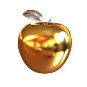 Gold apple isolated on white background — Stock Photo