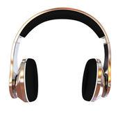 Chrome headphones icon — Stock Photo