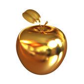 Gold apple isolated on white background — Stock Photo