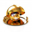 Earth globe on glossy golden salver dish under a golden cover — Stock Photo