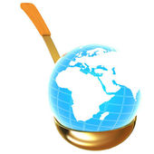 Blue earth on gold soup ladle — Stock Photo