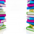 Stack of colorful real books on white background — Stock Photo