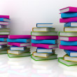 Stack of colorful real books on white background — Stock Photo #24240255