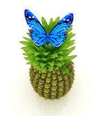Niebieski motyl na ananasa na białym tle — Zdjęcie stockowe