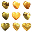 Gold hearts set for wedding design — Stock Photo