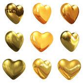 Corazones oro para diseño de boda — Foto de Stock