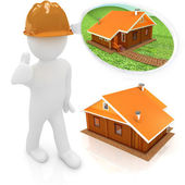 3d architect in a hard hat with thumb up with real plans. 3d image. Isolated white background. — Stock Photo