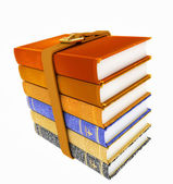 Stack of books with belt isolated on white background — Stock Photo