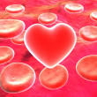 Red heart and blood cells - Stock Photo