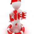 "Stock Photo: 3d mwith life buoy carrying word ""life"""