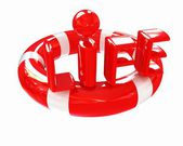 Red lifebelt with word life — Stock Photo