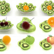 Slices of kiwi with other fruits on a white — Stock Photo