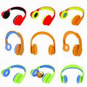 Set of various earphones — Stock Photo