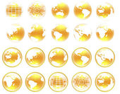 Set of Yellow 3d globe icons with highlights — Stock Photo