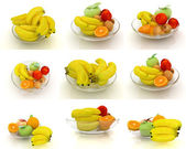 Bananas with other fruits on a white — Stock Photo