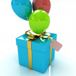 Gift box with balloon for summer — Stock Photo