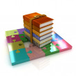 Stock Photo: Puzzles with book stack. Concept of knowledge growth