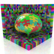 Abstract colored puzzle construction with puzzle sphere — Stock Photo