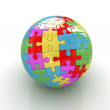 Sphere collected from colorful puzzle — Stock Photo