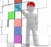 3d man on colored digital boxes background — Stock Photo