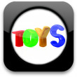 Glossy icon with Toys 3d text — Stock Photo