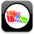 Glossy icon with gift and book — Stock Photo