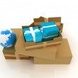 Cardboard boxes, gifts and earth — Stock Photo