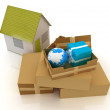Cardboard boxes, gifts, earth and houses — Stock Photo