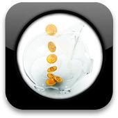 Glossy icon with glass piggy bank — Stok fotoğraf