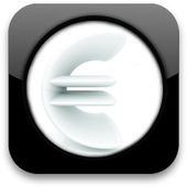 Glossy icon with euro sign — Stock Photo