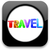 "Glossy icon with colorful text ""travel"" — Stock Photo"