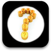Parlak altın dolar işareti olan şeklinde soru işareti simgesiyle — Stok fotoğraf