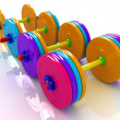 Stock Photo: Colorful dumbbells
