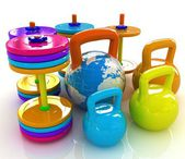 Colorful weights and dumbbells and earth. Global — Stock Photo