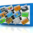 Stock Photo: Touchscreen Smart Phone with Cloud of Media Application Icons