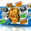 Ear gold on tablet pc with cloud of media application Icons  — Stock Photo