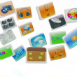 Cloud of media application Icons  — Stock Photo