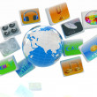 Stock Photo: Earth with cloud of media application Icons