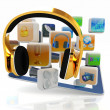 Phone gold on tablet pc with cloud of media application Icons — Stock Photo