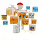 3d man with cloud of media application Icons — Stock Photo