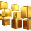 3d abstract gold cubs — Stock Photo