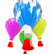 Hot Air Balloons with Gondola. Colorful Illustration isolated on white Background — Stock Photo
