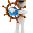 Sailor with wood steering wheel and earth. Trip around the world concept — Stock Photo