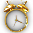 3D illustration of gold alarm clock — Stock Photo
