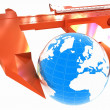 Vernier caliper measures the Earth. Global 3d concept — Stock Photo