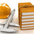 Stock Photo: Vernier caliper, leather books and yellow hard hat
