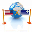 Stock Photo: Three-dimensional image of turnstile and flags of USand Greece on white background