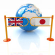 Three-dimensional image of the turnstile and flags of UK and JP on a white background  — Stok fotoğraf