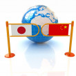 Stock Photo: Three-dimensional image of turnstile and flags of Chinand Japon white background